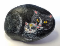 Kitty Cuddles Painted Rock