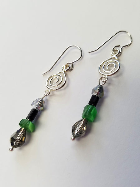 Deep Forest Beaded Earrings
