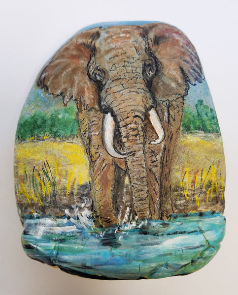 Wild Elephants Painted Rock