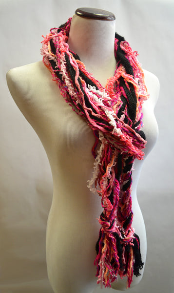 Pink and Black Ruffle Scarf
