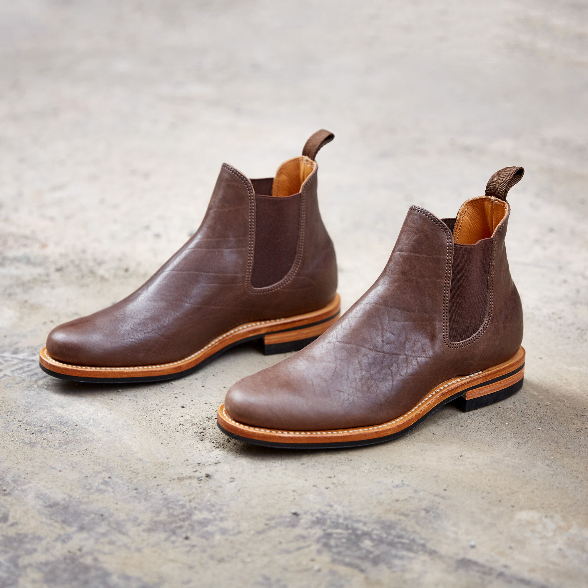 Division Road Dark Brown Washed Horsehide Chelsea Boot