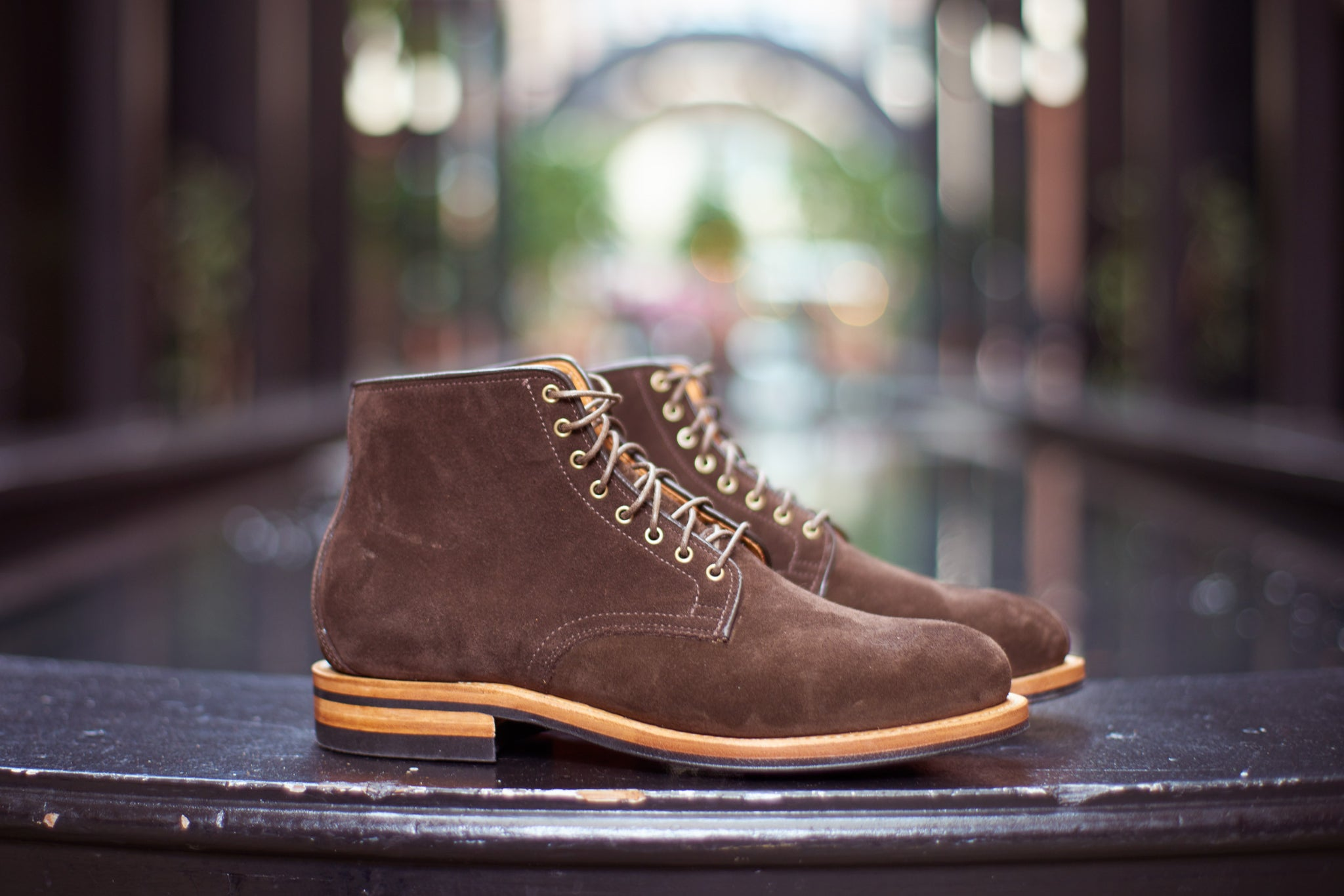 Viberg Invasion Division Road Inc Cut Engineer Shoes Safety Boots Iron Suede Leather Soft Brown The Bernhard Chukka Boot
