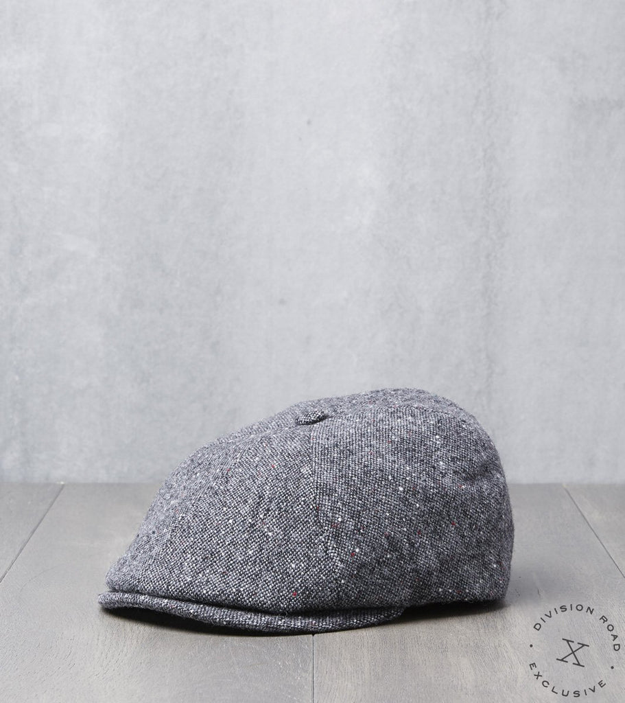 Bates Gentleman's Hatter Toni Cap - Donegal Tweed - Grey Division Road