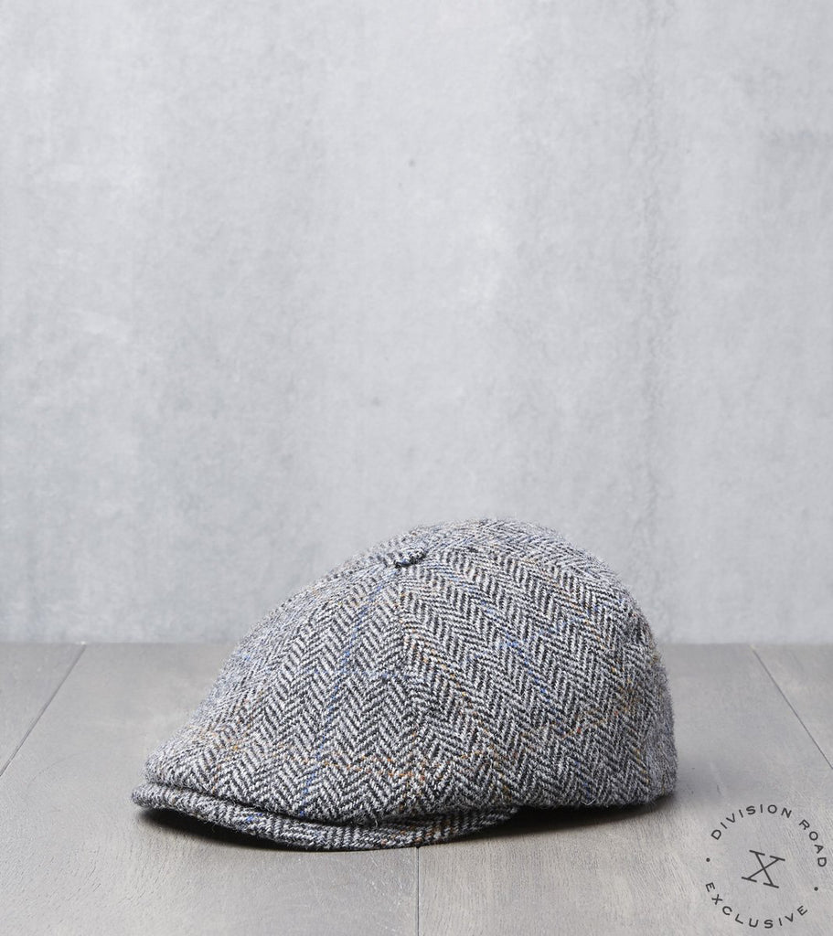 Bates Gentleman's Hatter Toni Cap - Harris Tweed Herringbone Plaid - Grey Division Road