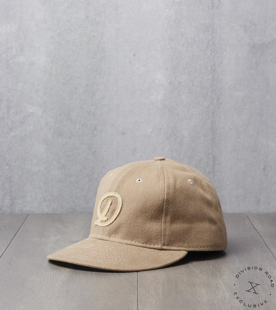 Ebbets Field x Division Road Cap - Fitted - Khaki 12oz Bull Denim
