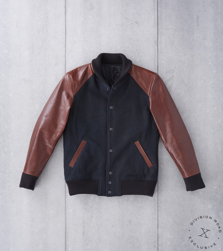 Nine Lives Divided Sashiko Varsity Jacket - Black Waxed Indigo & Brown Yak Leather Division Road
