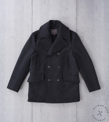 Private White V.C. x Division Road Archive Manchester Pea Coat - Charcoal Fox Brothers Wool