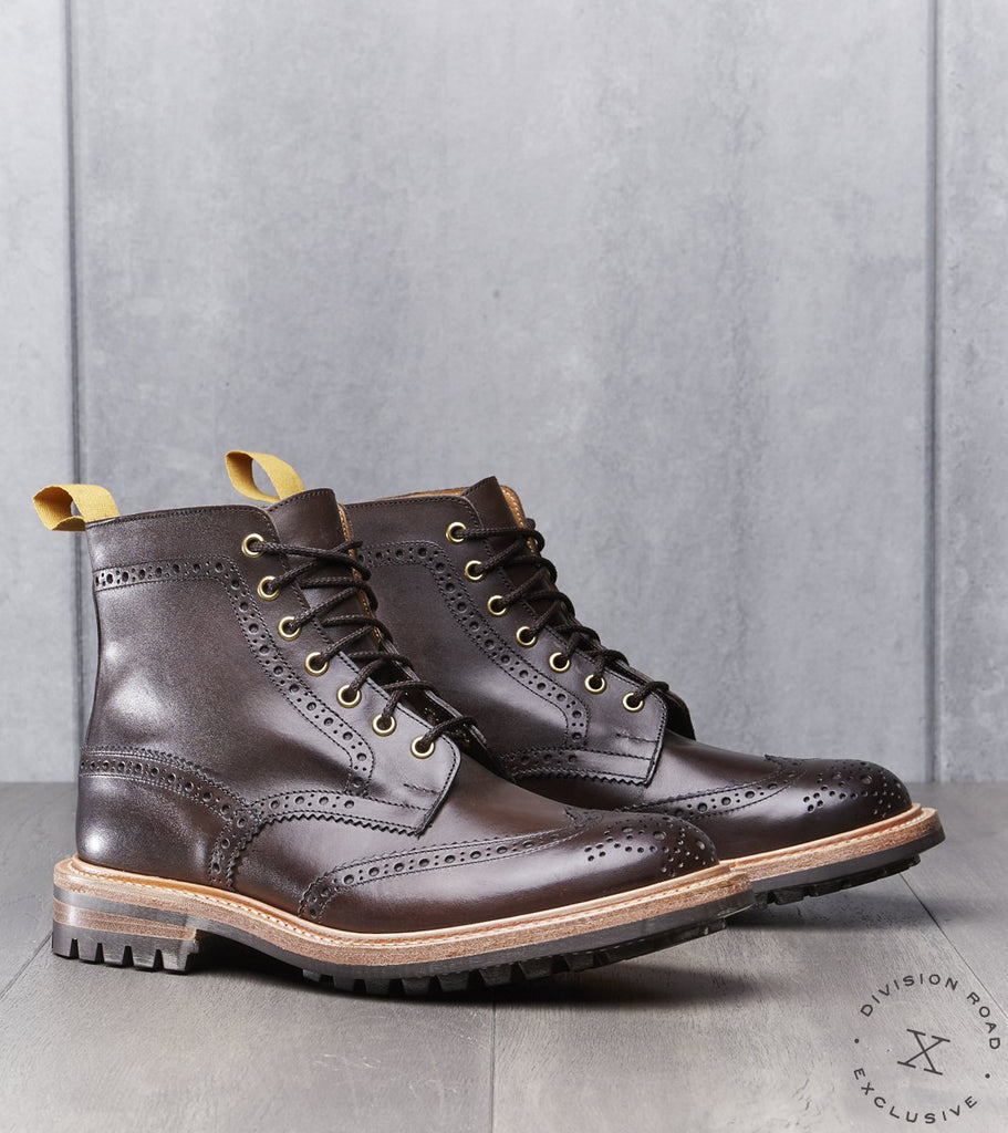 Tricker's x Division Road Stow Boot - Commando - Espresso Burnished