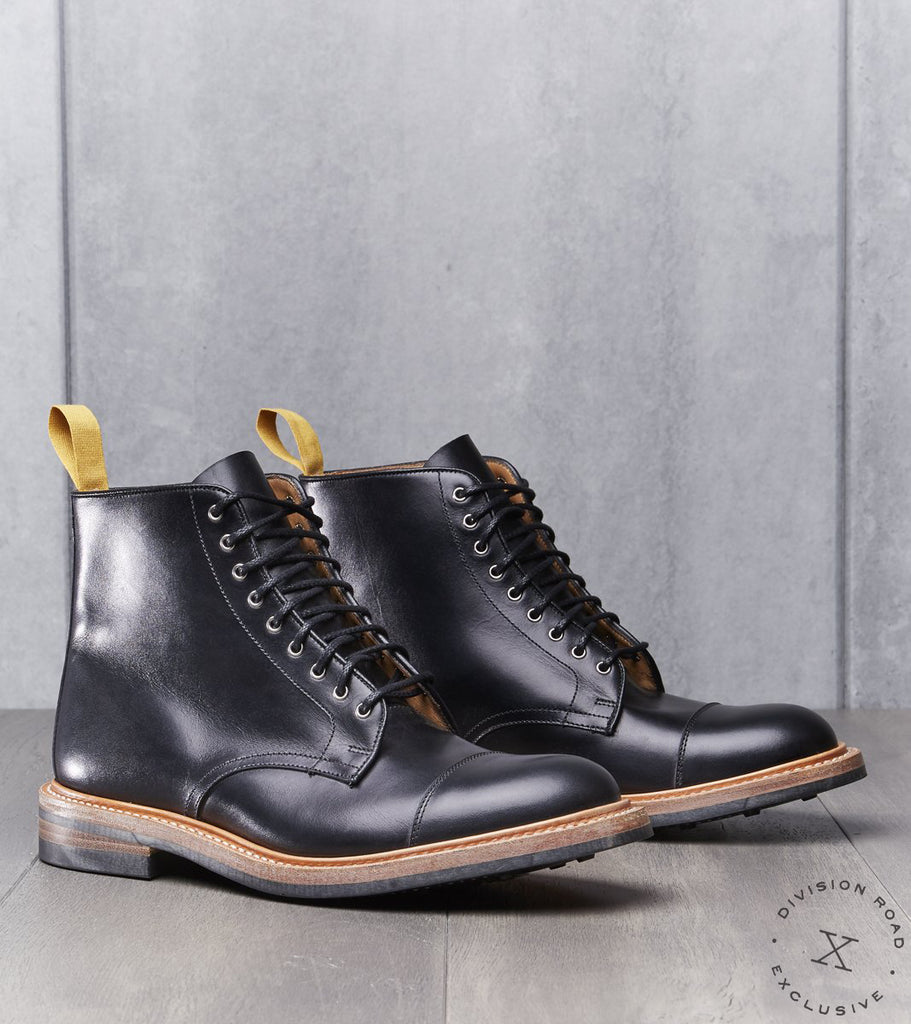 Tricker's x Division Road Cap Toe Derby Boot - Dainite Sole - Black Box Calf