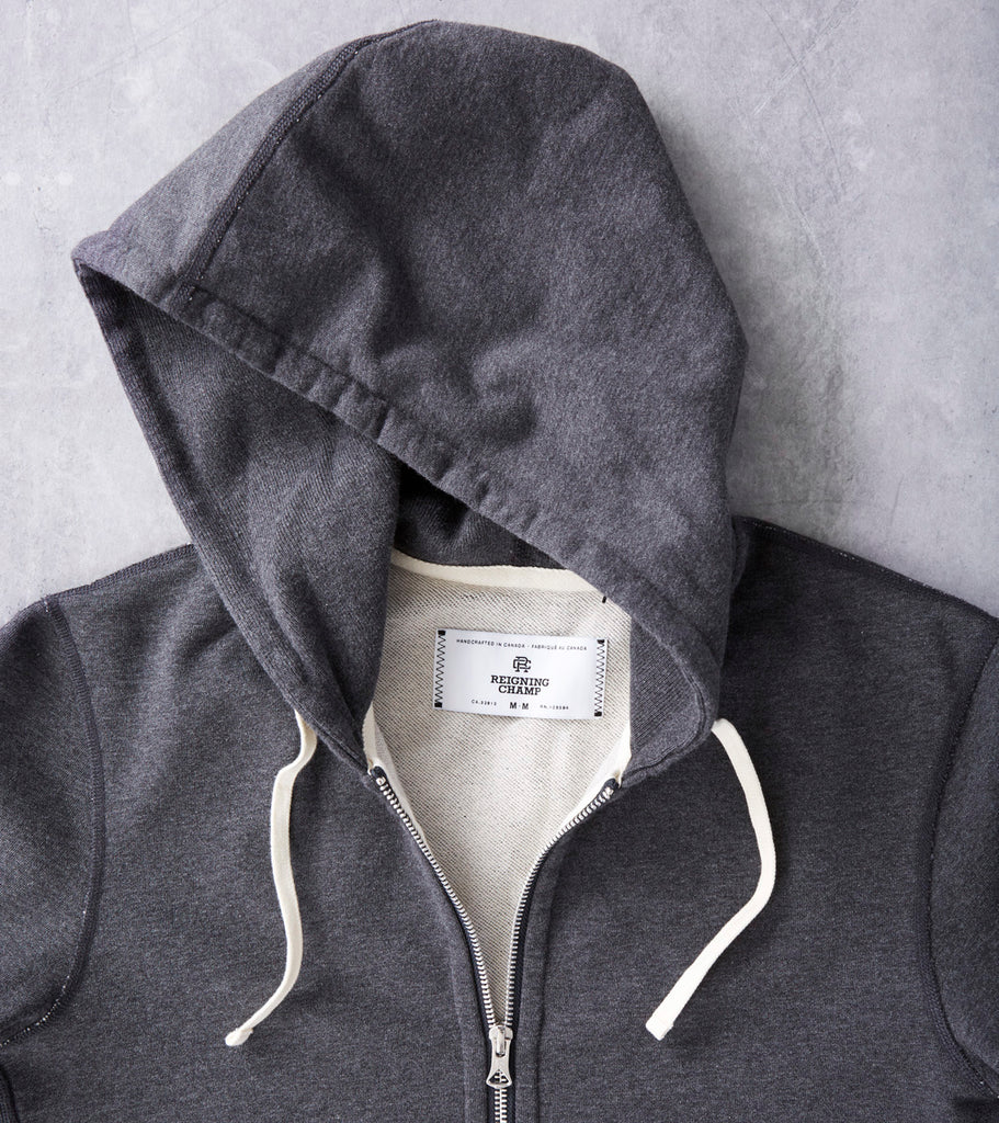 Reigning Champ Full Zip Hoodie - Heather Charcoal