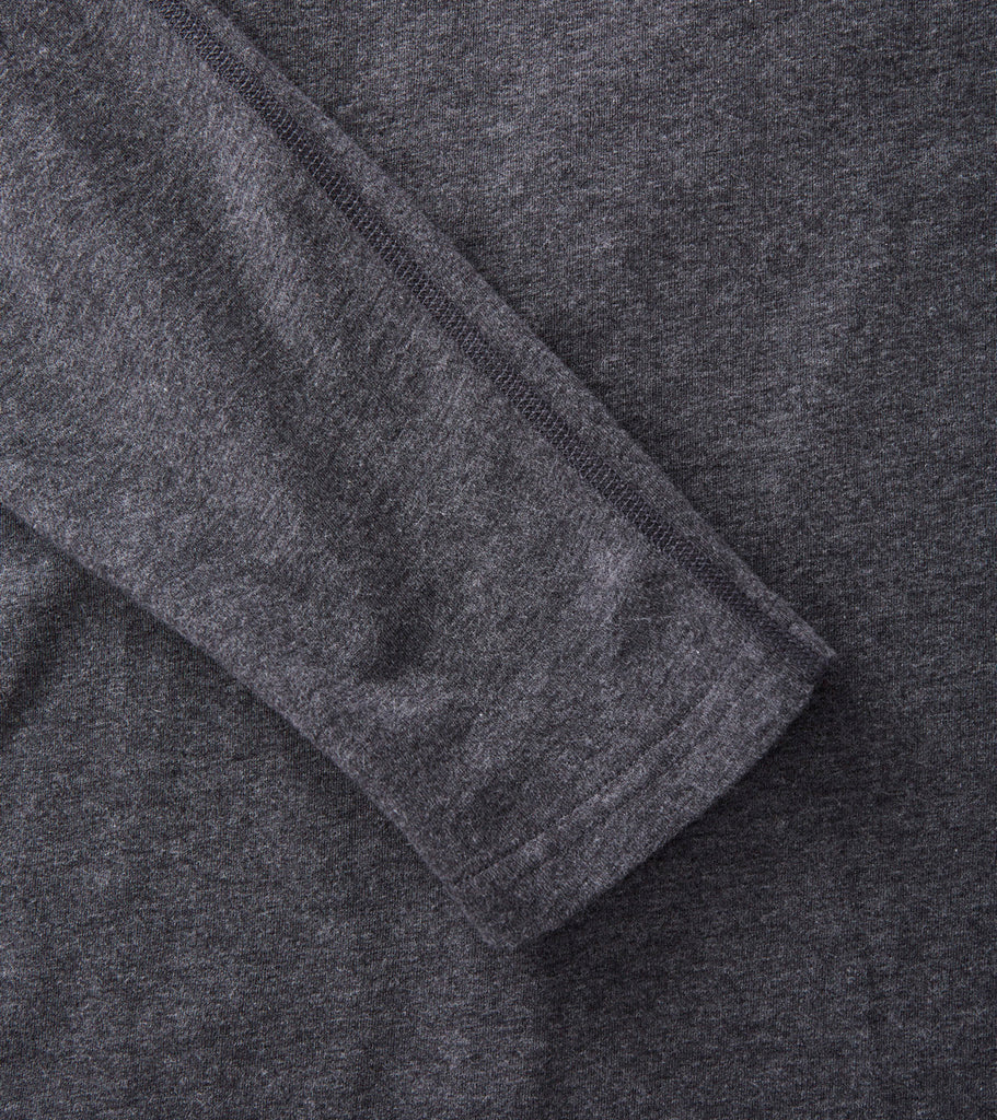 Reigning Champ Long Sleeve Tee - Heather Charcoal Division Road