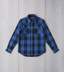 Iron Heart 247-IND - Western - 9oz Selvedge Flannel Check Indigo & Dark Indigo Division Road