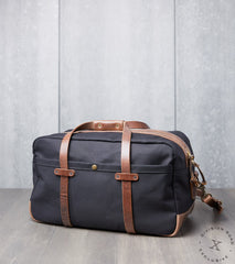 "Vermilyea Pelle 20"" Duffle Bag - Black Dry Wax - Natural Wooly Leather Division Road"