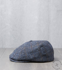 Bates Gentleman's Hatter Toni Cap - Harris Tweed Herringbone Plaid - Navy Division Road