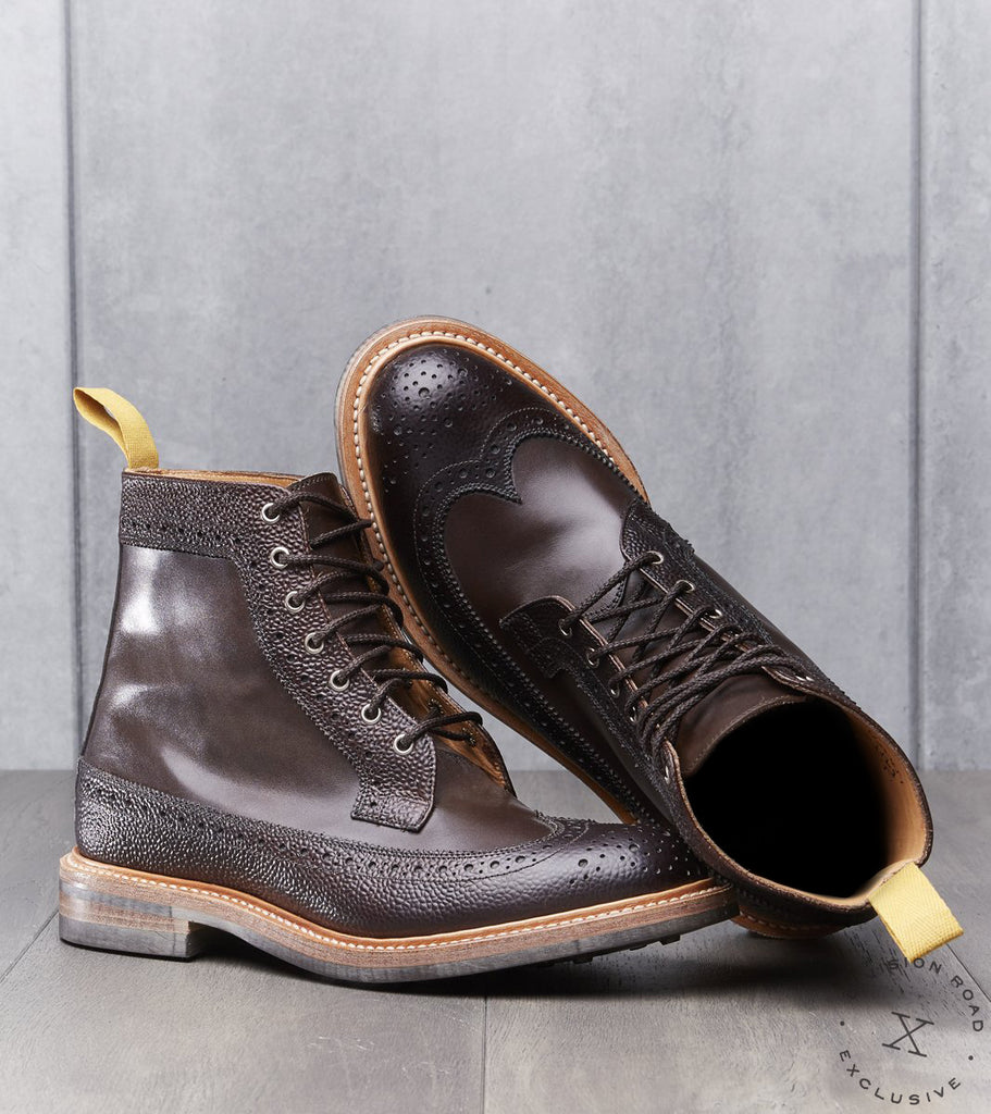 Tricker's x Division Road Longwing Boot - Dainite Sole - Espresso Textured