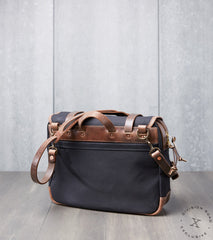 "Vermilyea Pelle 15"" Large Field Bag - Black Dry Wax - Natural Wooly Leather Division Road"