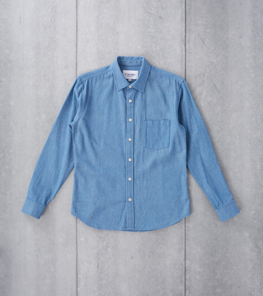 Corridor NYC Spring Perfect Denim Shirt Washed Indigo Division Road