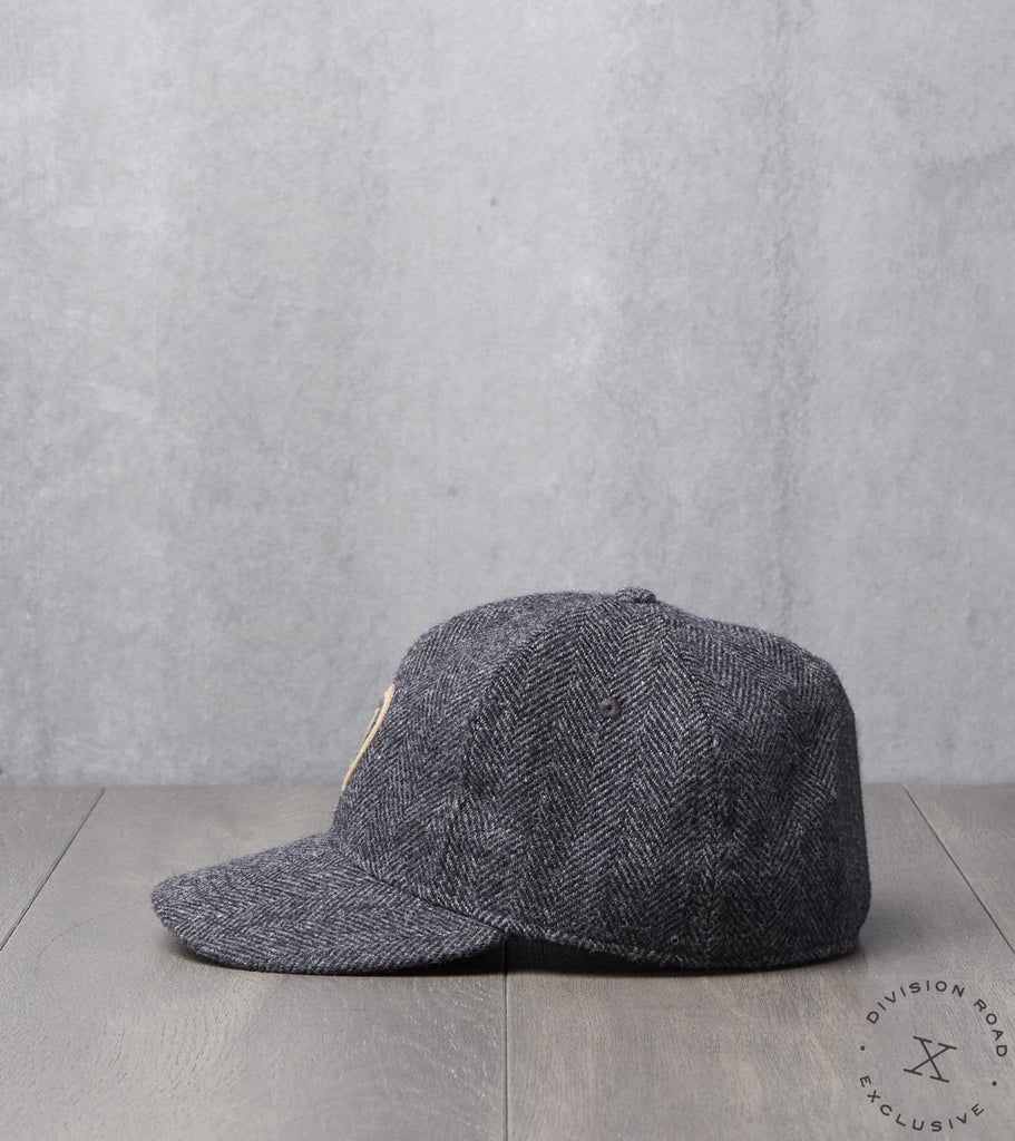 Ebbets Field x Division Road Cap - Charcoal Herringbone Wool - Woolrich