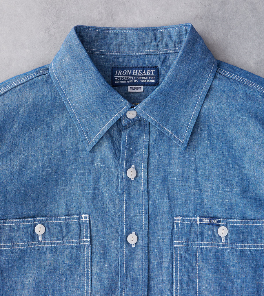 Iron Heart 222 - Work Shirt - 5oz Selvedge Cotton/Linen Chambray Indigo Division Road