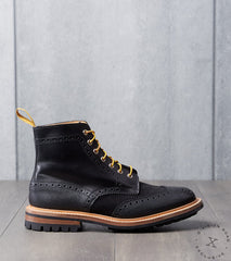 Tricker's x Division Road Textured Stow Boot - Commando - Black