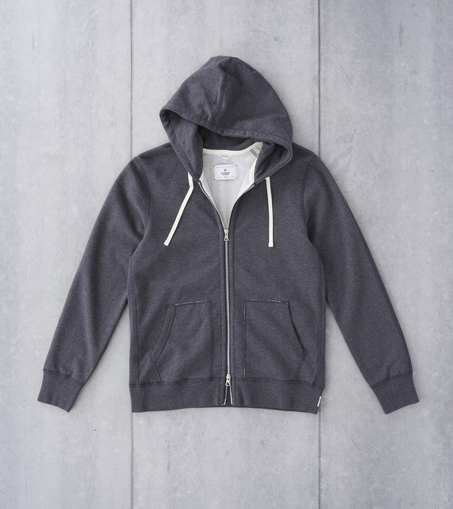 Reigning Champ Full Zip Hoodie - Heather Charcoal Division Road