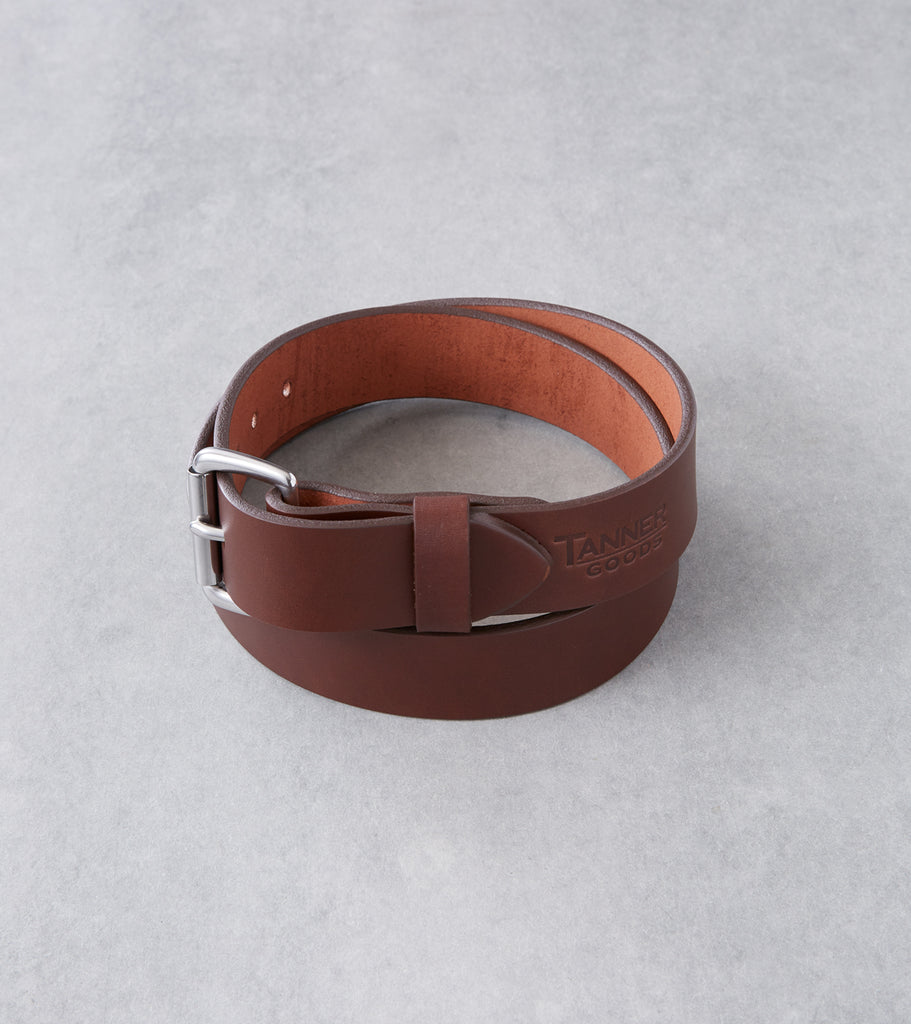 Tanner Goods Standard Belt - Stainless - Cognac Division Road