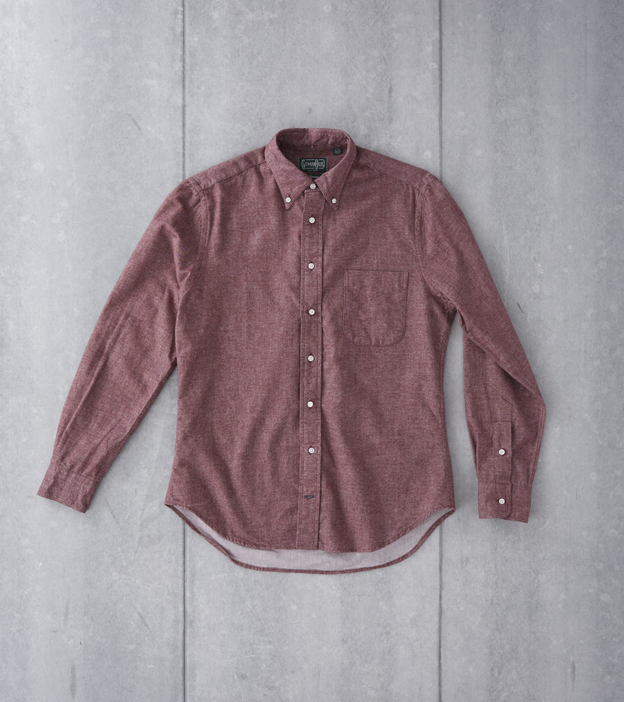 Gitman Vintage Japanese Chambray Flannel Burgundy Division Road Shirt