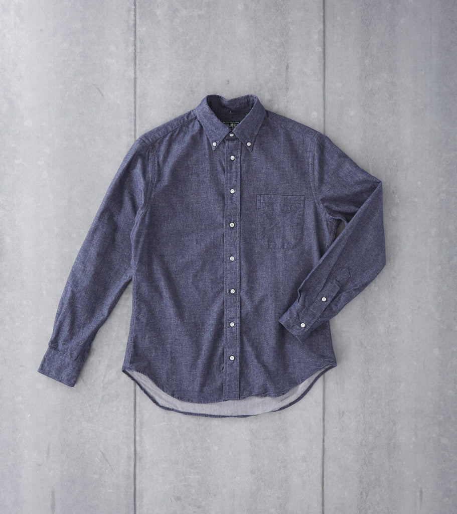 Gitman Vintage Japanese Chambray Flannel Navy Division Road Shirt
