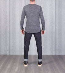 wings+horns Base 1x1 Slub Long Sleeve Henley - Marled Black - Division Road