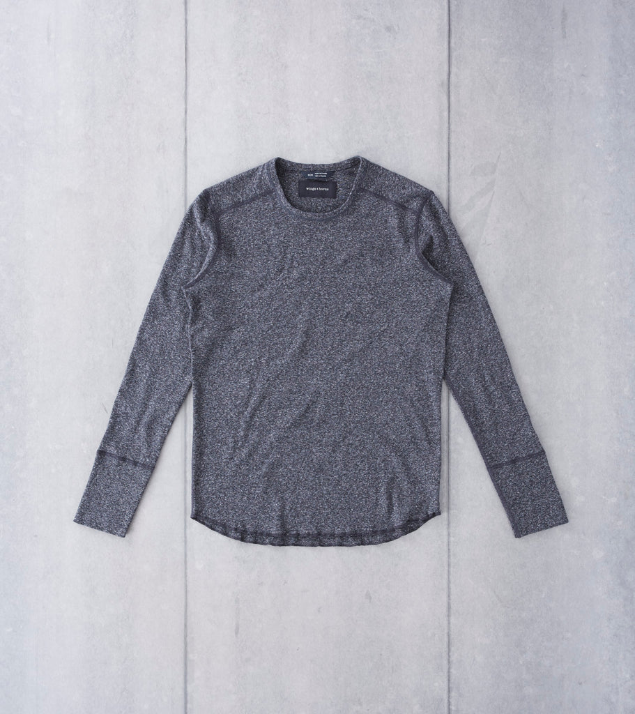 wings+horns Base 1x1 Slub Long Sleeve Crewneck - Marled Black - Division Road