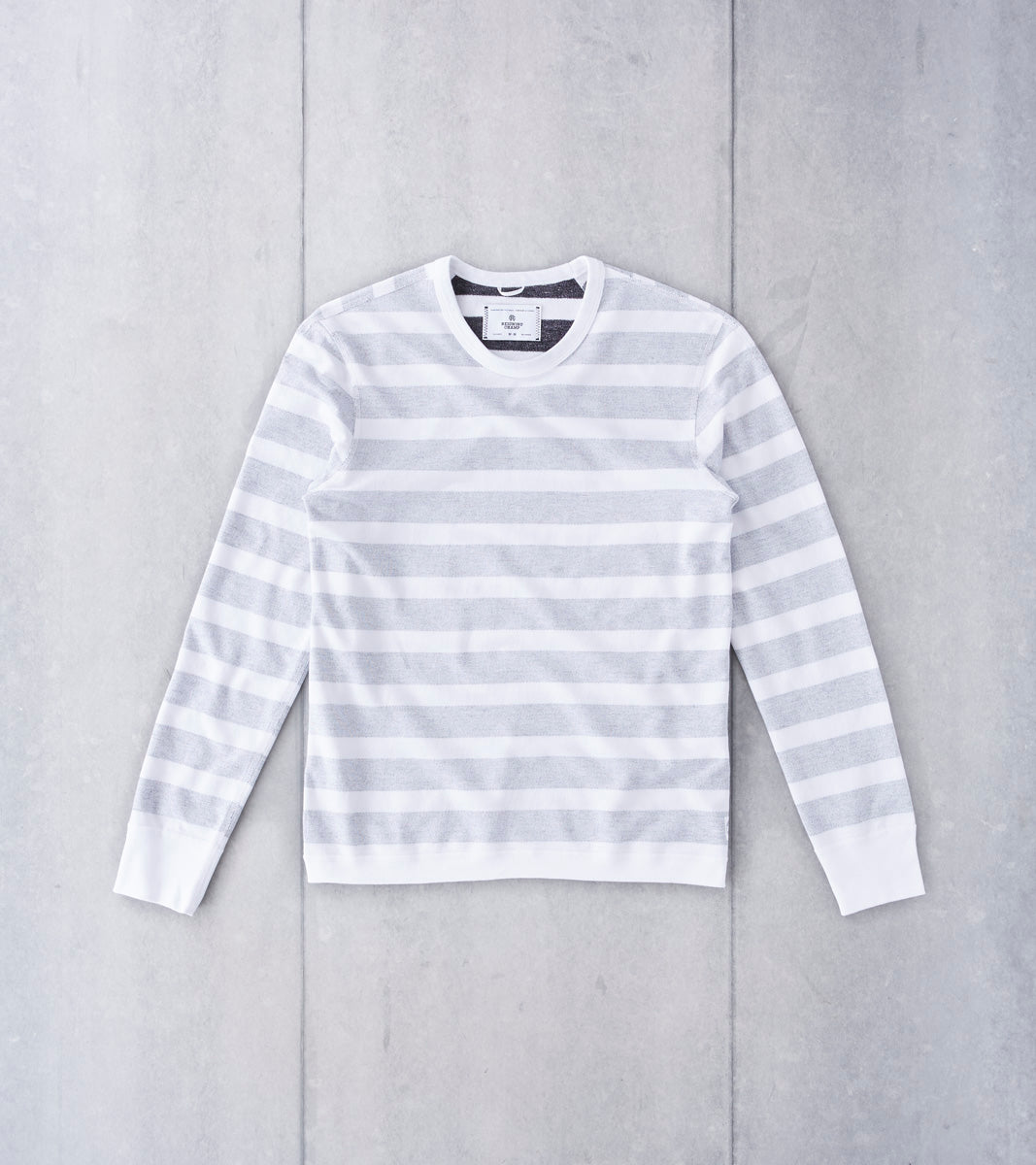 Reversible Striped Terry Long Sleeve Crewneck - White
