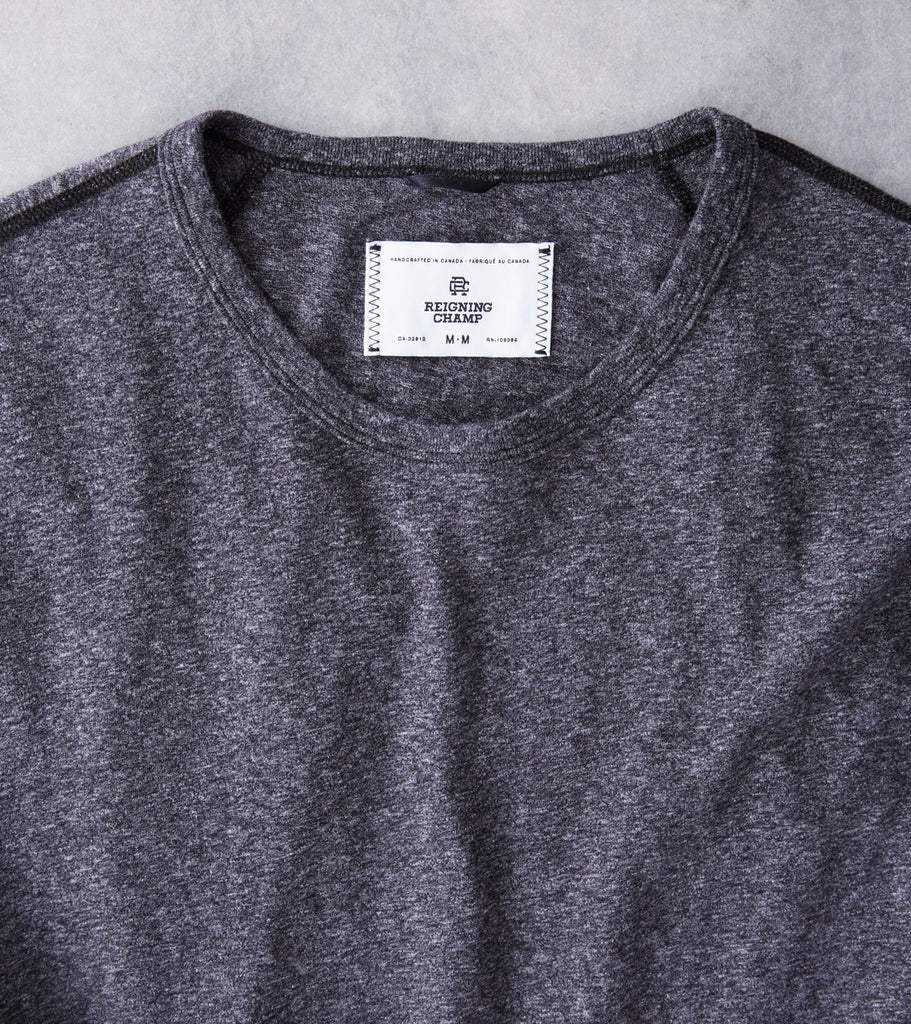 Reigning Champ Long Sleeve Tee - Heather Black - Division Road