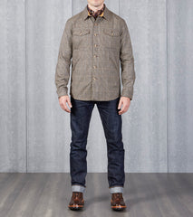 Dehen 1920 Crissman Overshirt - Fox Brothers® Wool - Khaki Houndstooth Division Road