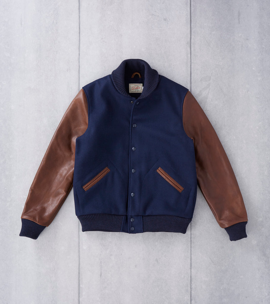 Dehen 1920 Varsity Jacket - Navy Melton & Luggage Leather Division Road