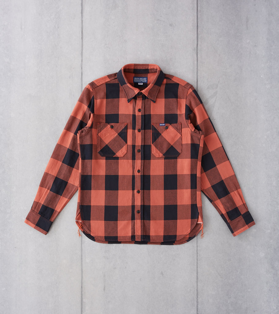 Iron Heart 251-RED - Work Shirt - 9oz Selvedge Flannel Check Red & Dark Indigo Division Road