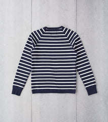 Reigning Champ Striped Terry Crewneck - Navy Division Road