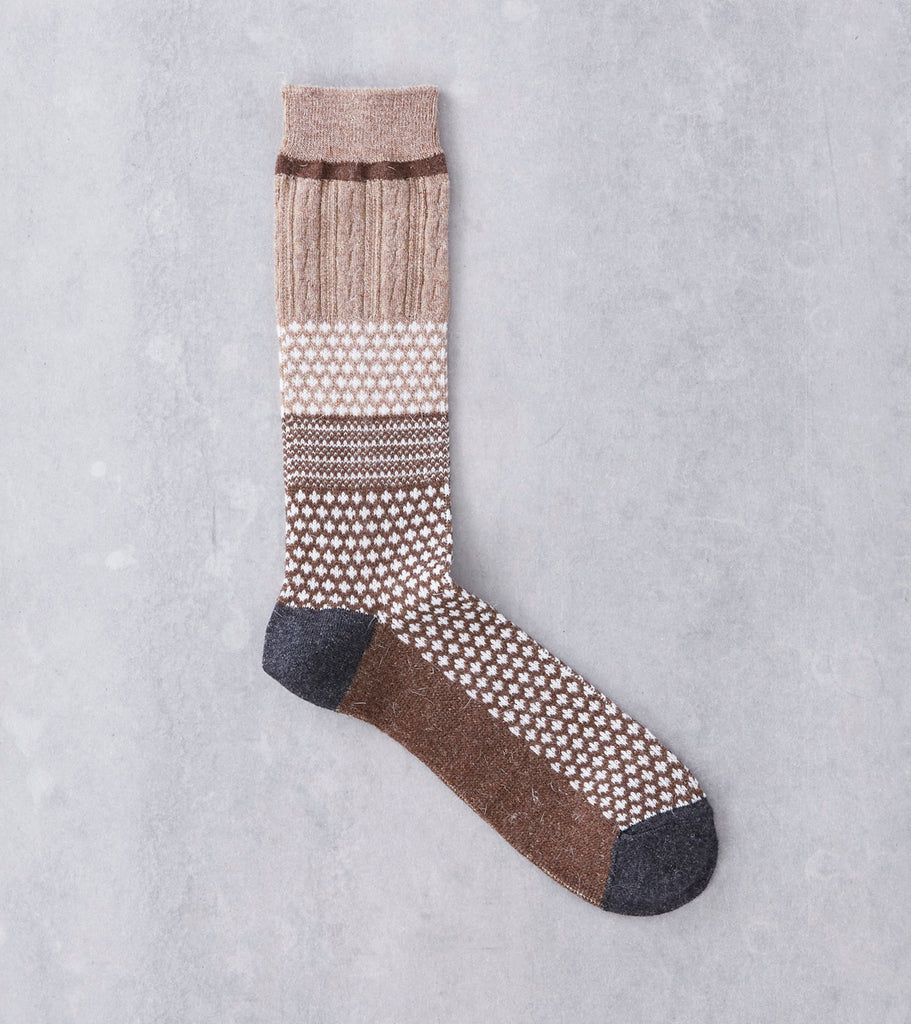 Anonymous Ism Wool Chestnut Jacquard Crew Sock Division Road