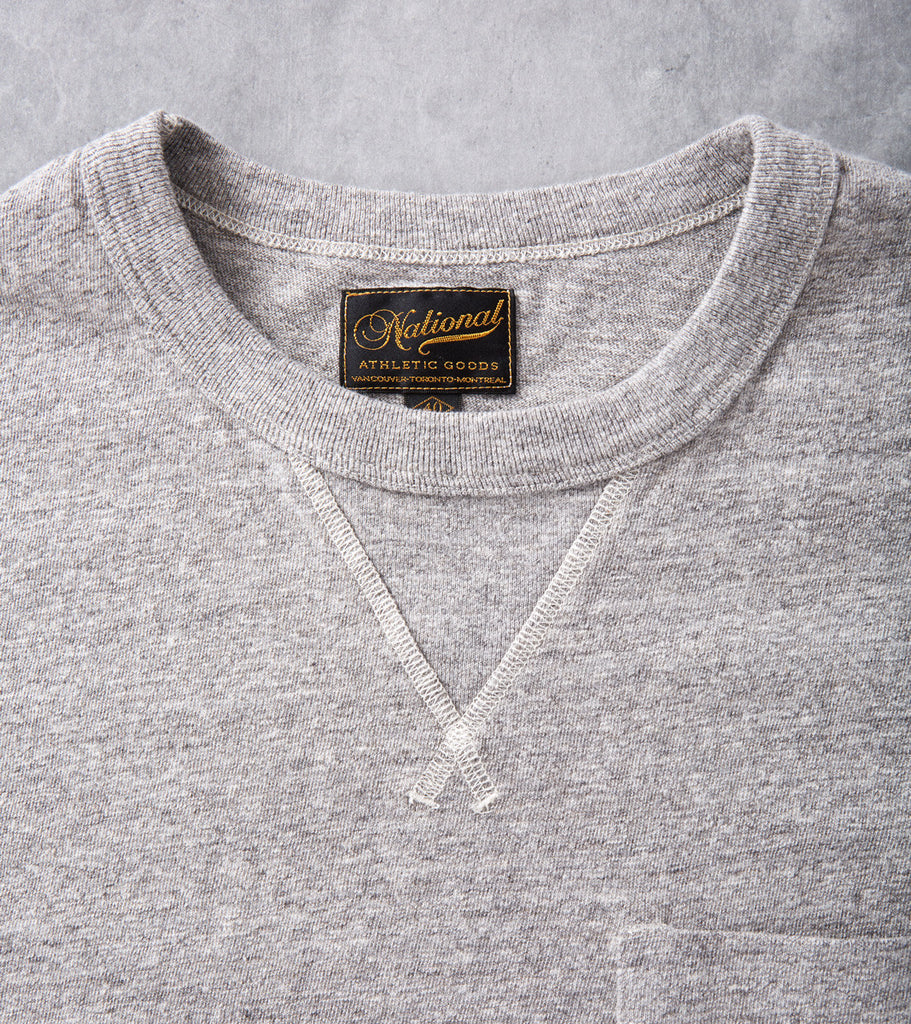 National Athletic Goods V Pocket Tee Medium Grey Division Road