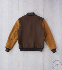 Dehen 1920 x Division Road AWC Letterman Club Knit Jacket - Bark & Goldmine