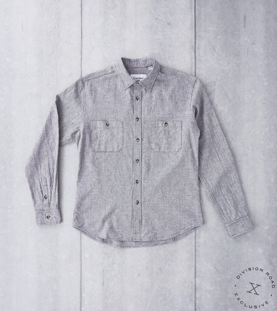 Corridor NYC Allied Archive Project Houndstooth Camp Shirt - Black & White Division Road