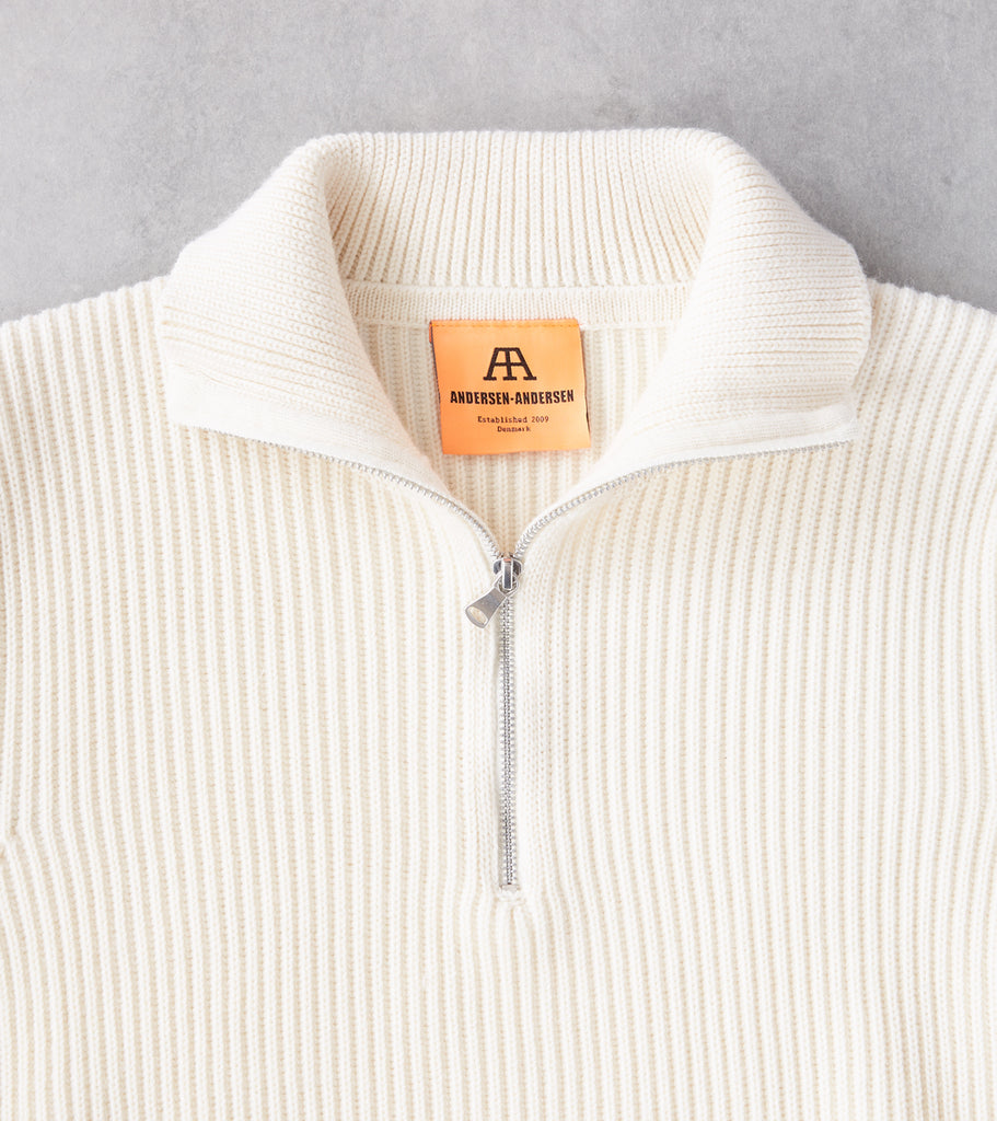 Division Road Andersen-Andersen Navy Half Zip Sweater - Off-White