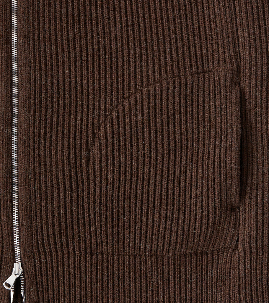 Division Road Andersen-Andersen Navy Full Zip Pocket Sweater - Natural Brown