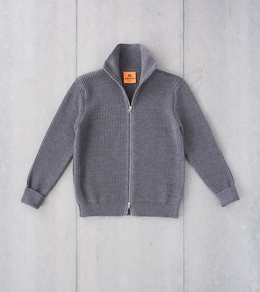 Division Road Andersen-Andersen Navy Full Zip Sweater - Grey