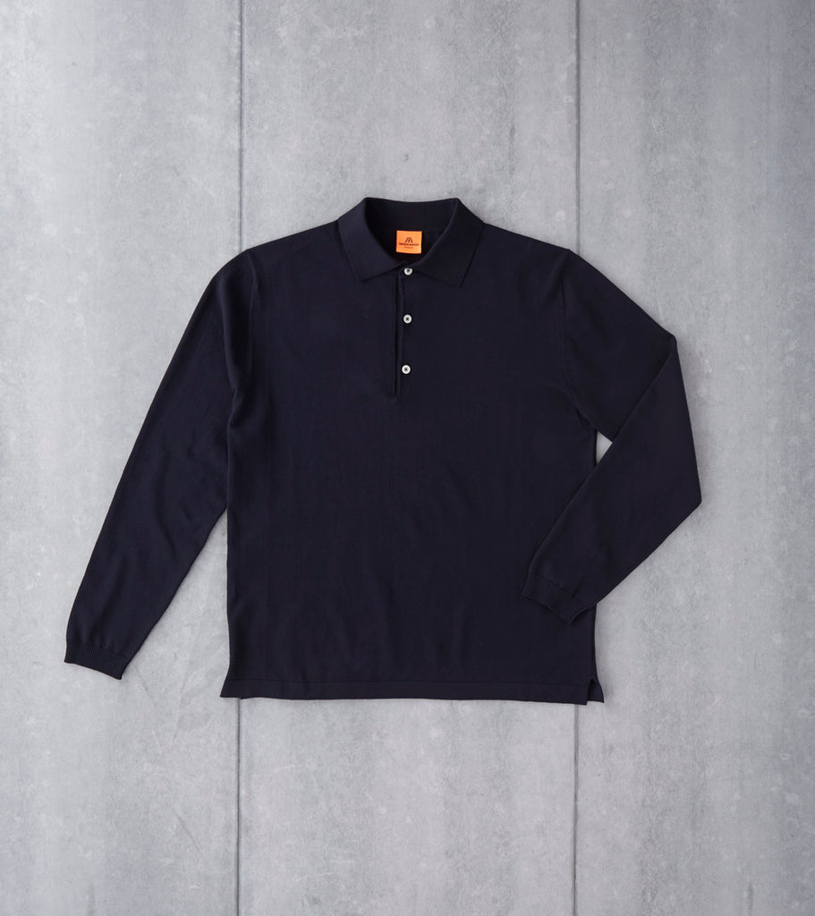 Andersen-Andersen Long Sleeve Polo - Navy Division Road