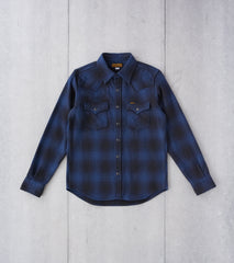 Iron Heart 264-NAV - Western - 12oz Ultra Heavy Flannel Ombre Check Navy Black Division Road