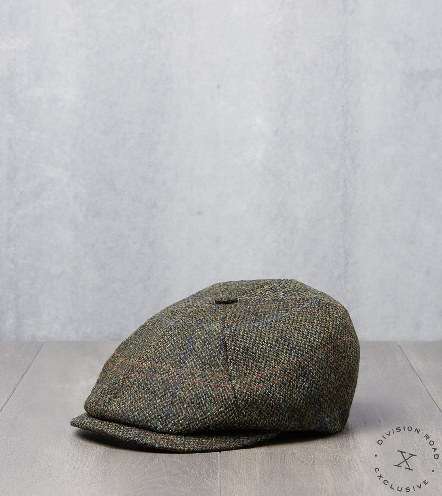 Division Road Bates Gentleman's Hatter Toni Cap - Harris Tweed Plaid - Forest