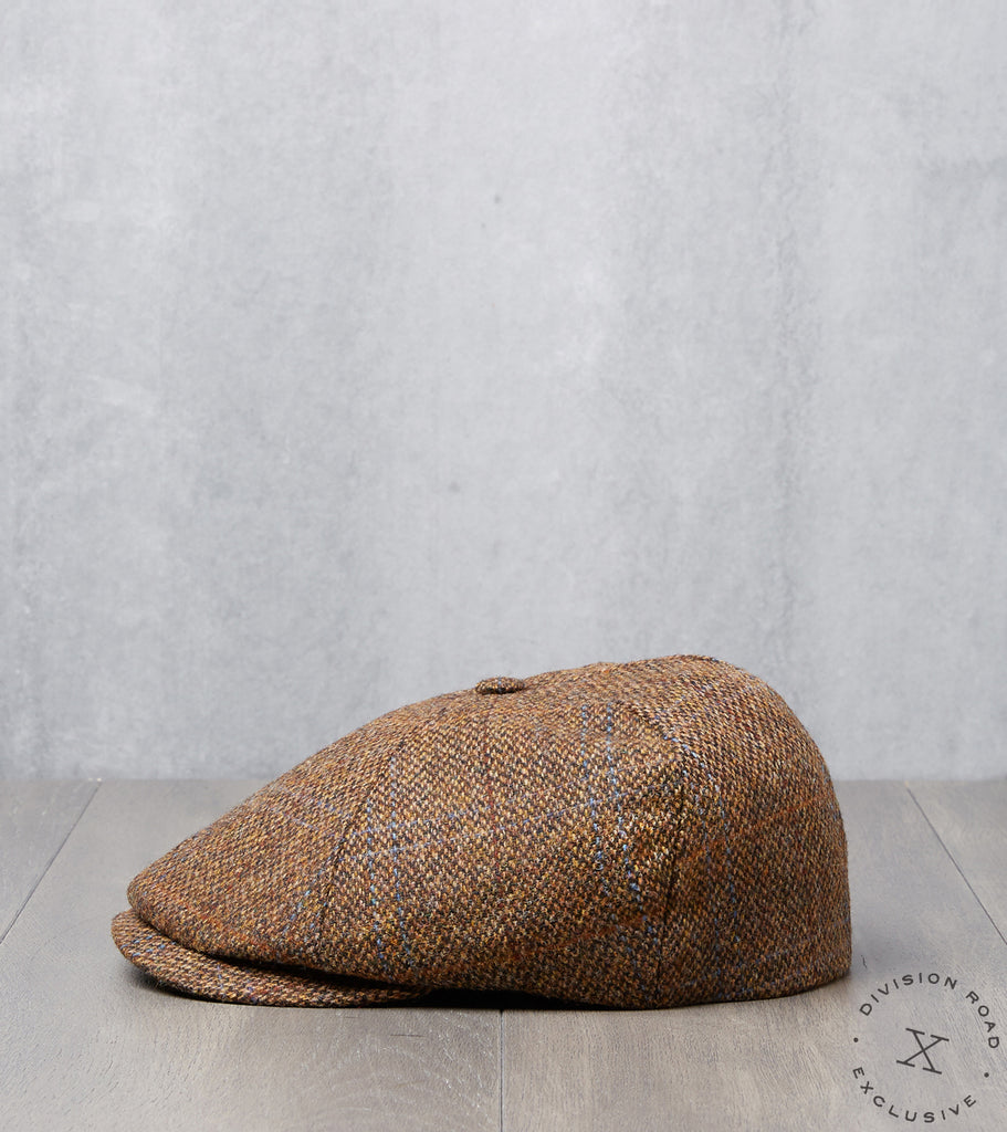 Division Road Bates Gentleman's Hatter Toni Cap - Harris Tweed Plaid - Rust