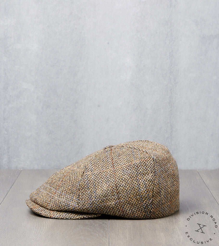Division Road Bates Gentleman's Hatter Toni Cap - Harris Tweed Plaid - Camel