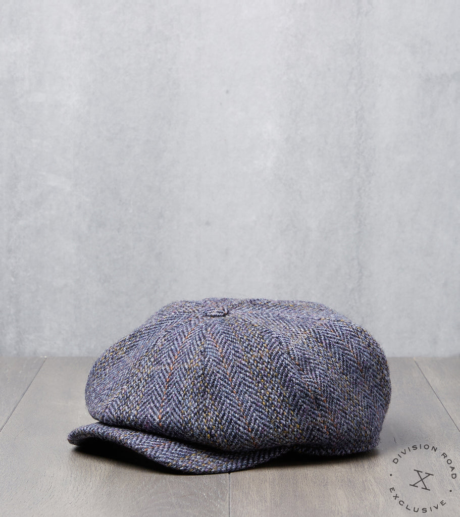 Division Road Bates Gentleman's Hatter Gatsby Cap - Harris Tweed Herringbone Plaid - Blue