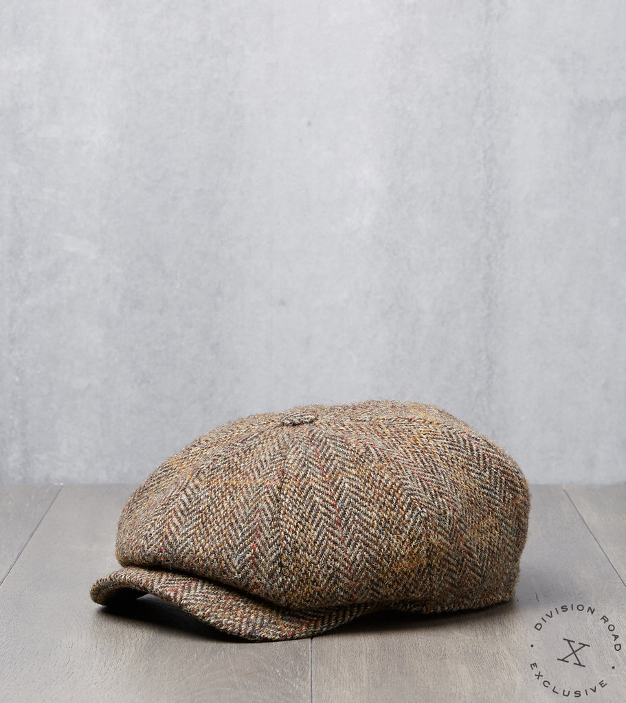 Division Road Bates Gentleman's Hatter Gatsby Cap - Harris Tweed Herringbone Plaid - Khaki
